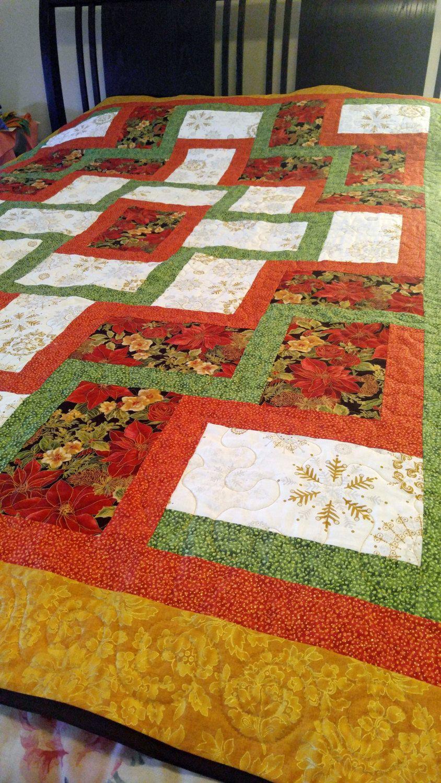 handmade, queen size quilt, Christmas quilt, size 75 x 80, queen ... : handmade quilt sizes - Adamdwight.com