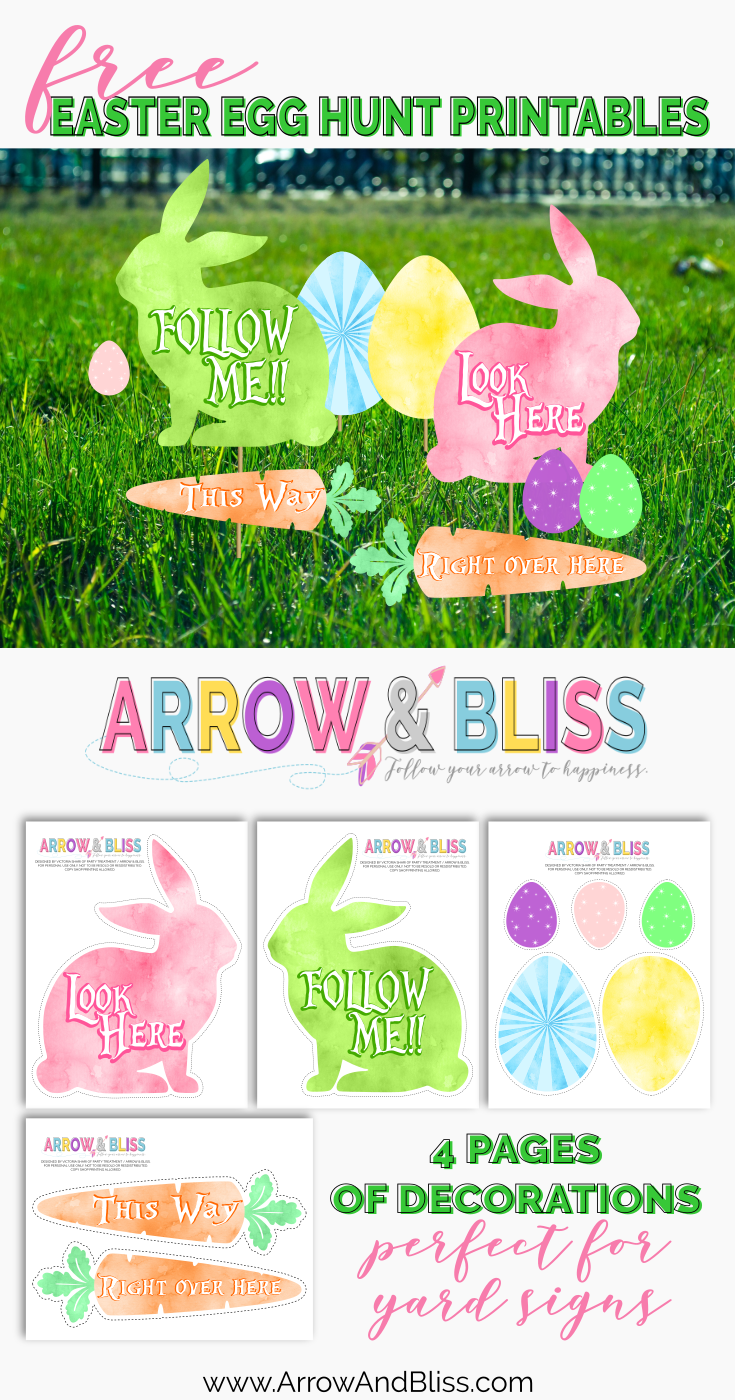 graphic about Printable Yard Signs called Easter Egg Hunt Printables Arrow and Bliss Egg hunt