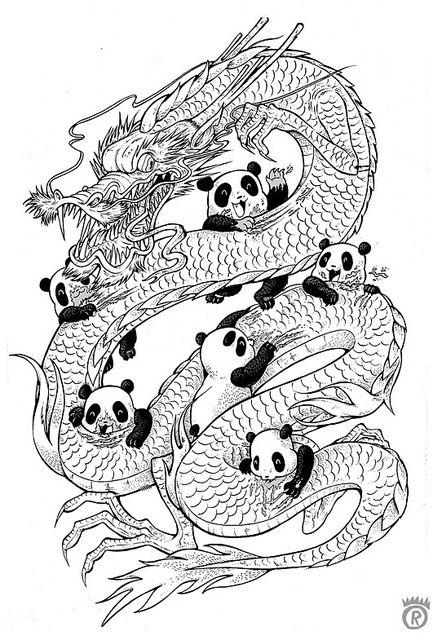 Year Of The Panda Outline Mandala Vorlagen Coloring
