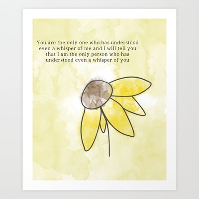 Sunflower Art Print With Everything Is Illuminated Quote Art 3