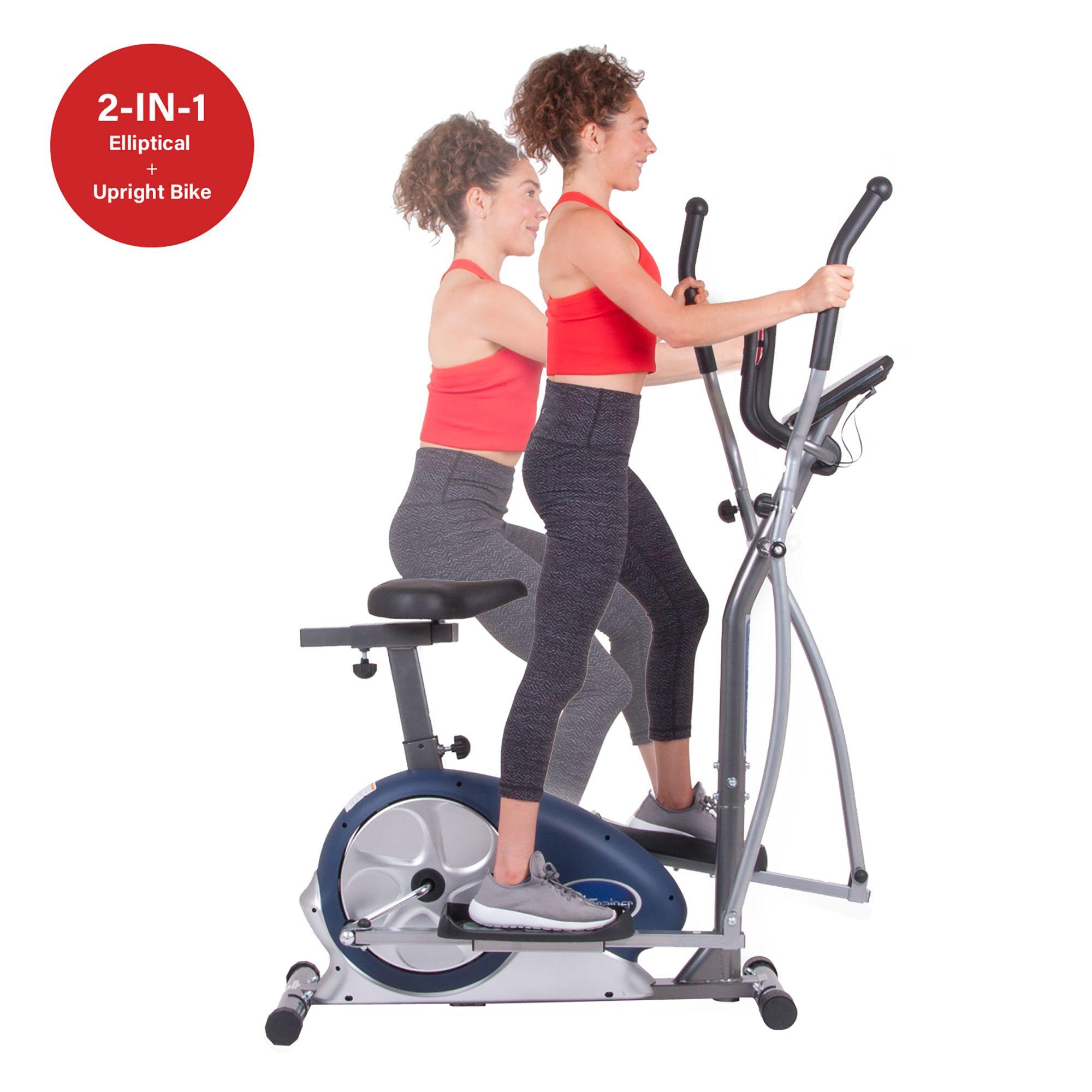 Body Champ Brm3671 Cardio Dual Trainer Silver Blue Elliptical Trainer Elliptical Workout
