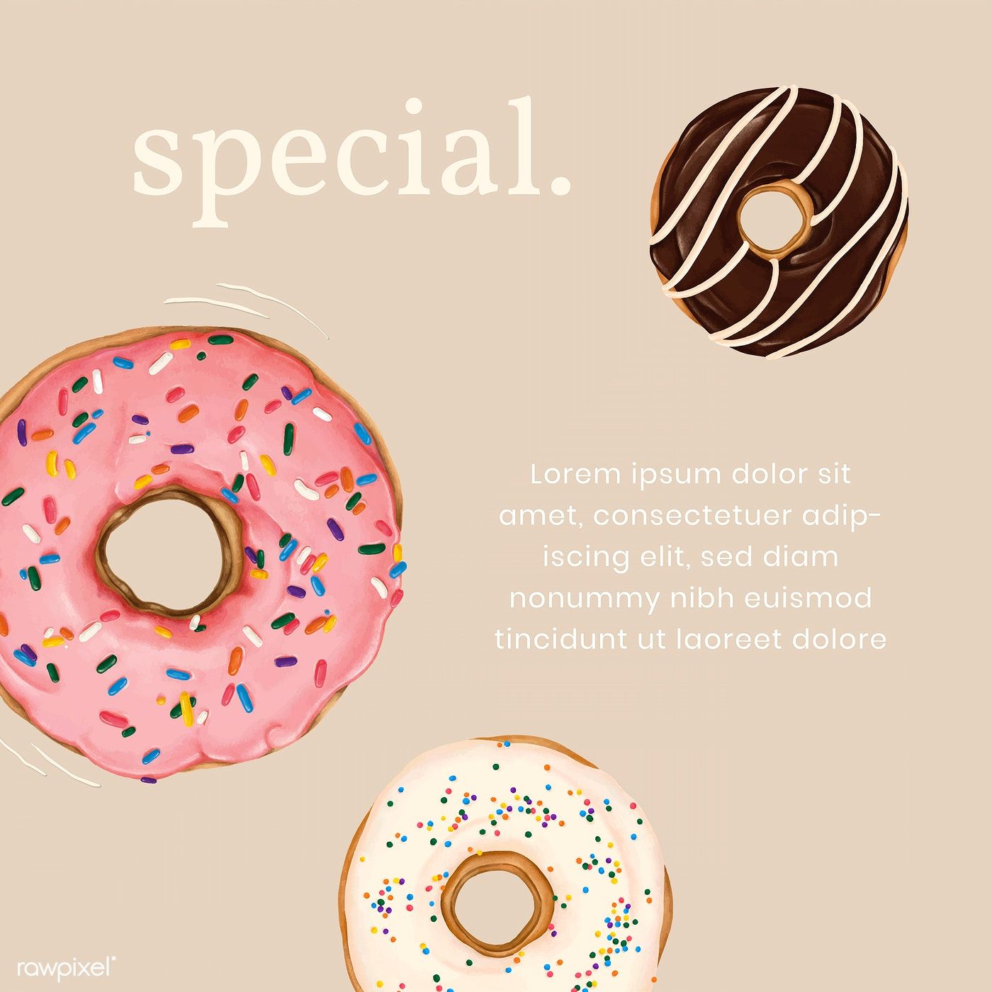 Hand drawn donut Instagram ad template vector free image