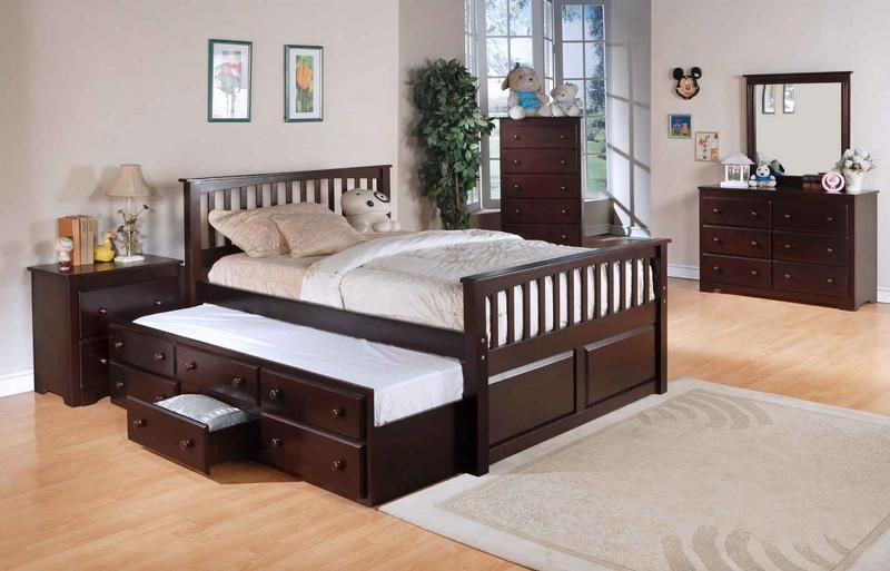 Queen Trundle Bed With Nightstand Set And Storage Underbed Bed