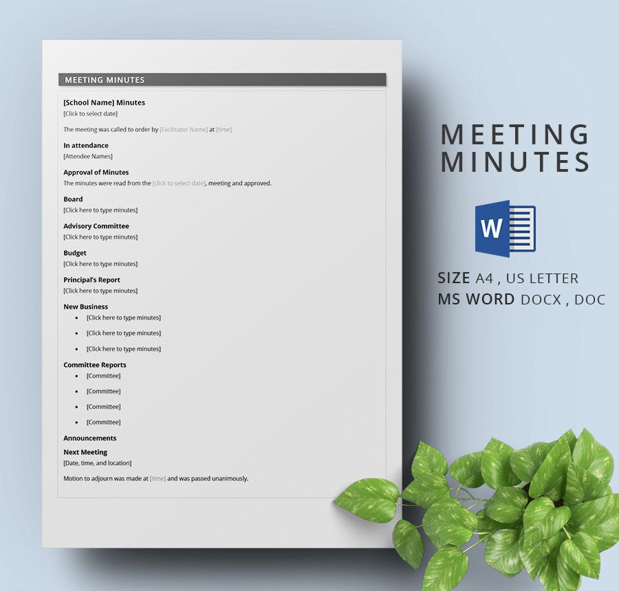 School Meeting Minutes Template  Meeting Min