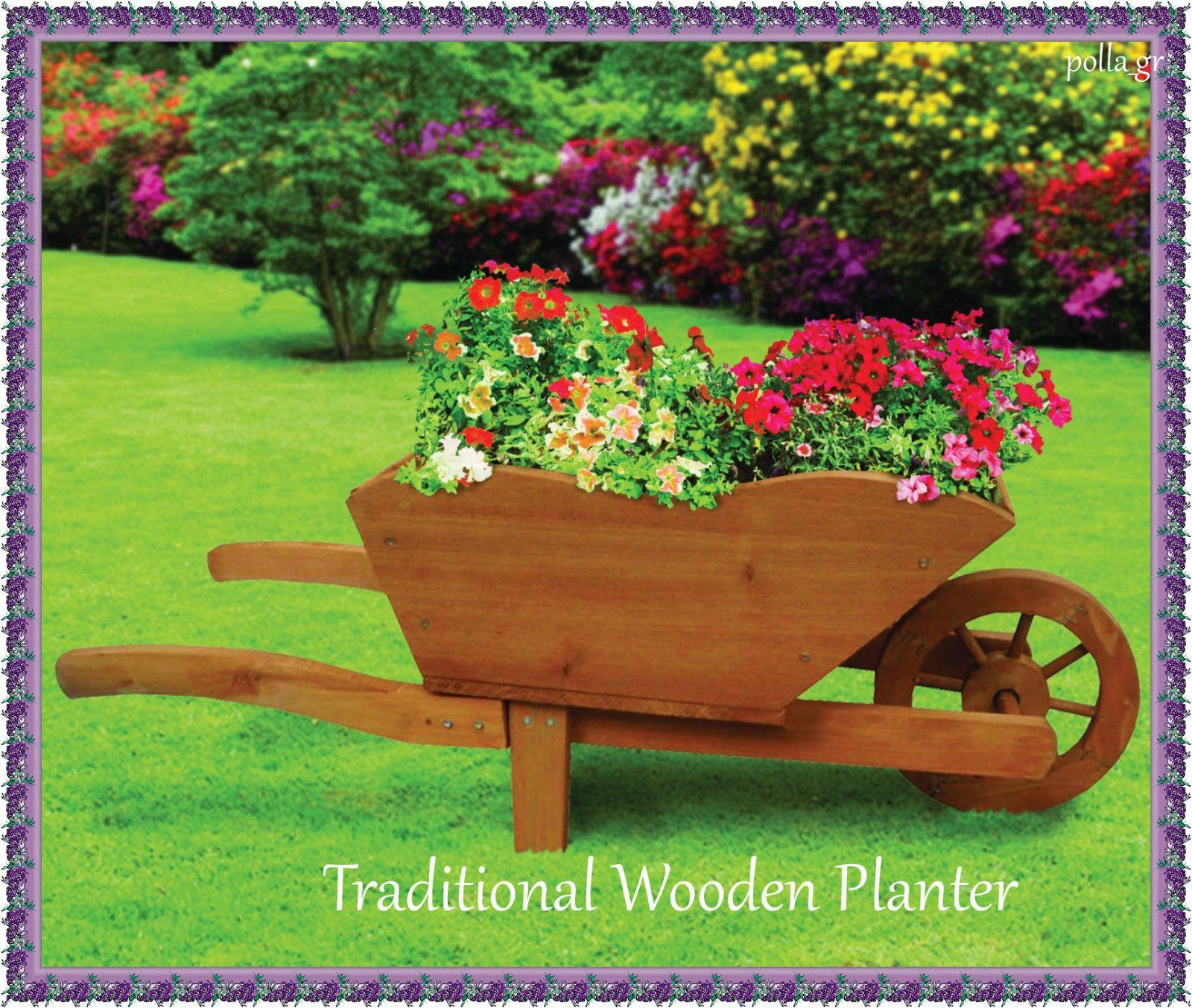 Garden Wooden Planter Flower Box Decor Wagon Wheelbarrow Patio Yard ...