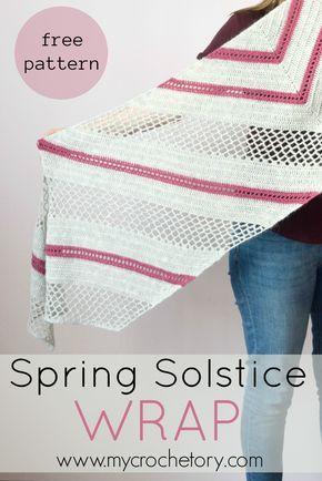 Spring Solstice Wrap - free crochet pattern. Modern trapezoid shaped shawl. Written instruction and charts on my blog www.mycrochetory.com