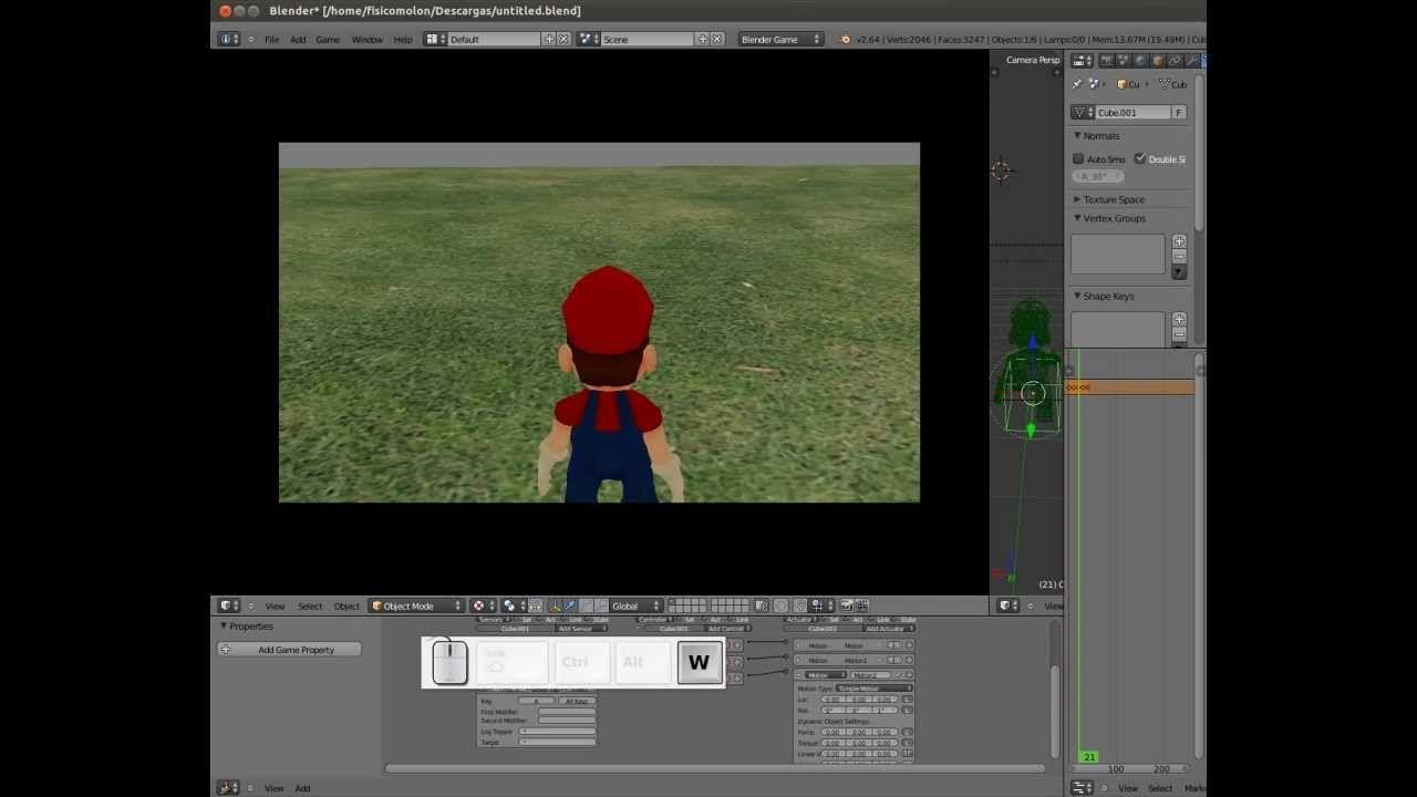 Tutorial 9 Camera setup. Blender Game Engine. Game