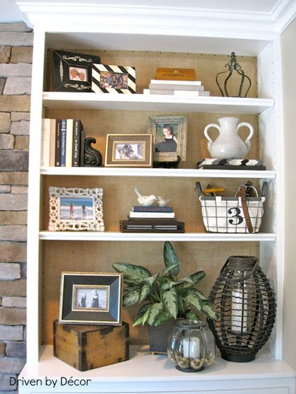 Bookcase Back Panel Ideas Give Warmth To An All White Bookcase By Adding Burlap To The Back Panel It Quietly High Bookcase Decor Bookshelf Decor Bookcase Diy