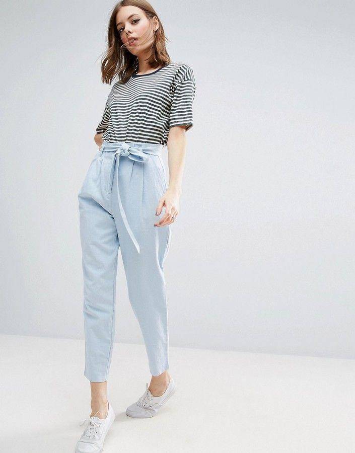 Photo of Asos Tie Waist Linen Peg Pants – ShopStyle