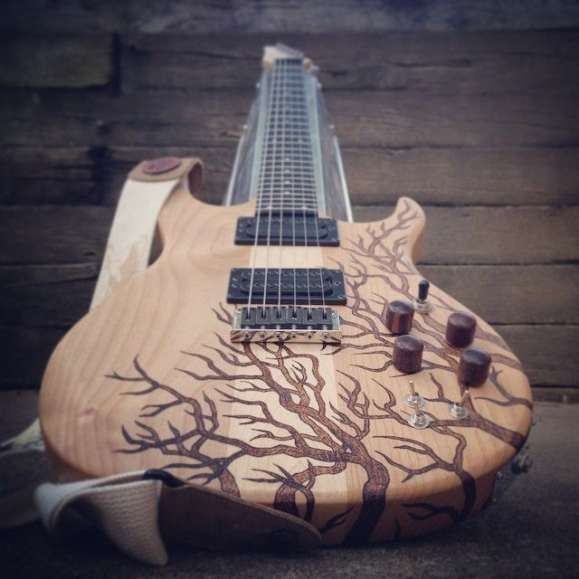 Warriors Imagine Dragons Electric Guitar Tab: Wood-Burned, Refinished Guitar By Mike At Mad Raven