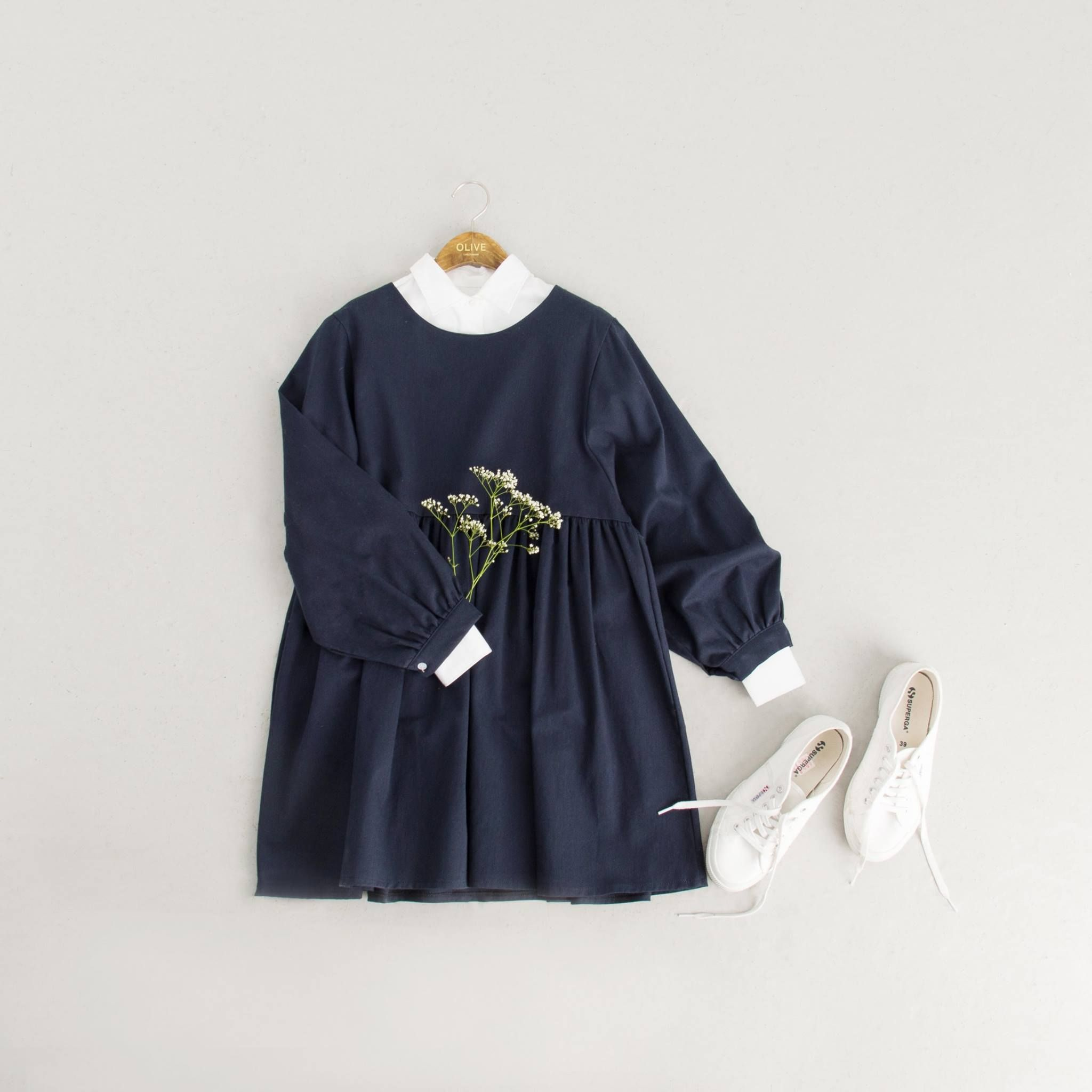 Simple structured shirt ivory and simple babydoll dress navy