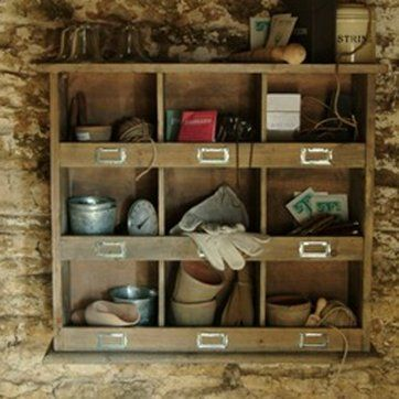 For The Potting Shed A Rustic Wooden Shelf Unit With Nine