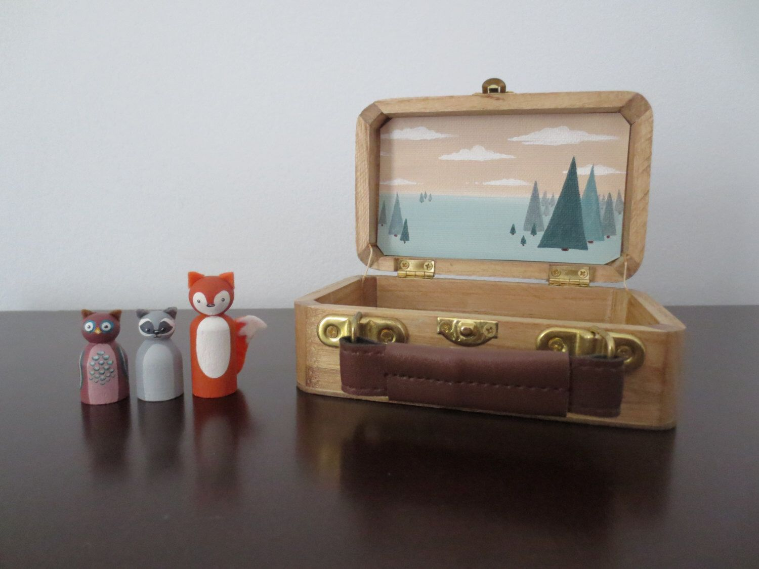 Woodland creatures toy set: fox, raccoon and owl. Gift set