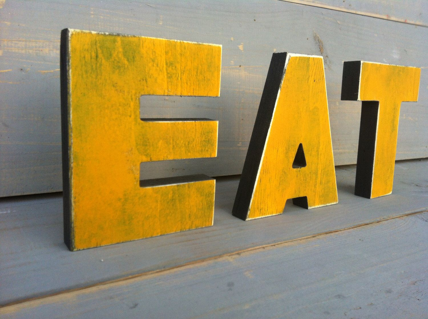 Wood Distressed EAT sign kitchen decor, wall hanging, wall art for ...