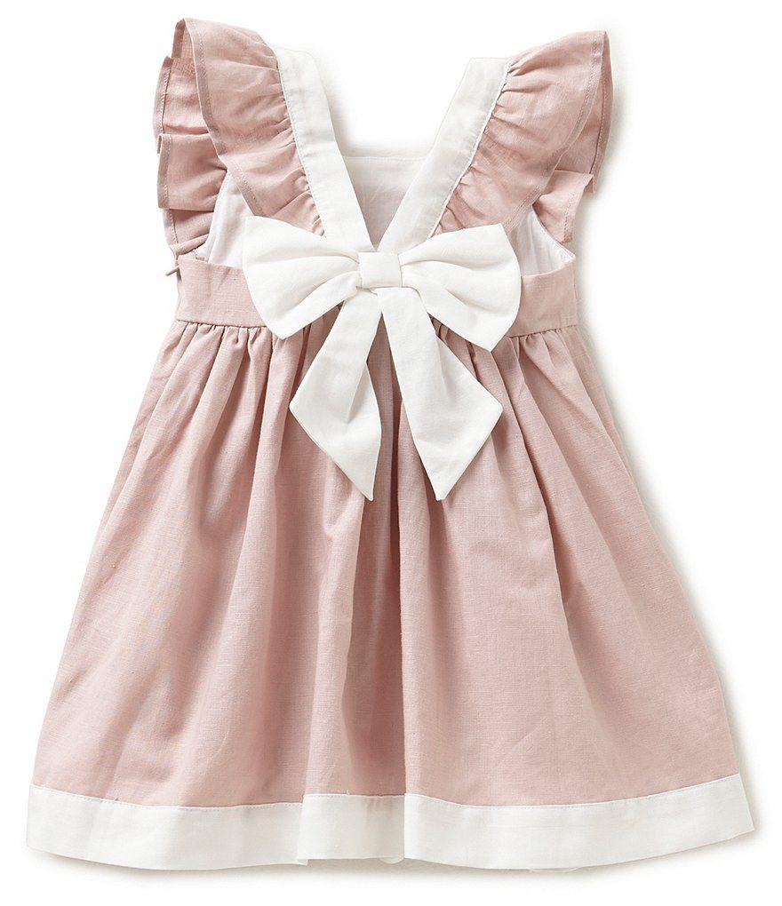Edgehill Collection Little Girls 2t 4t Linen Flutter Sleeve Dress Dillards Wedding Dress Long Sleeve Dresses Linen Wedding Dress [ 1020 x 880 Pixel ]