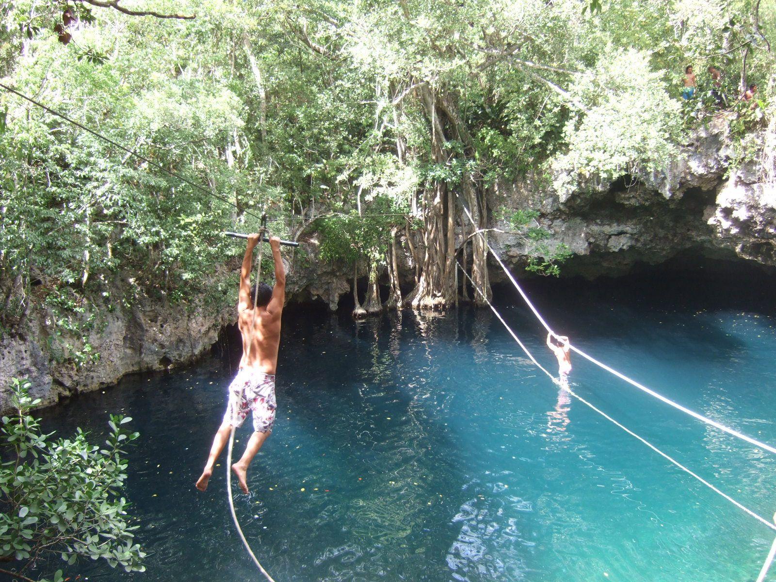 Ziplining Into Cenote Verde Lucerno Near Cancun Mexico Cancun Mexico Ziplining Cancun
