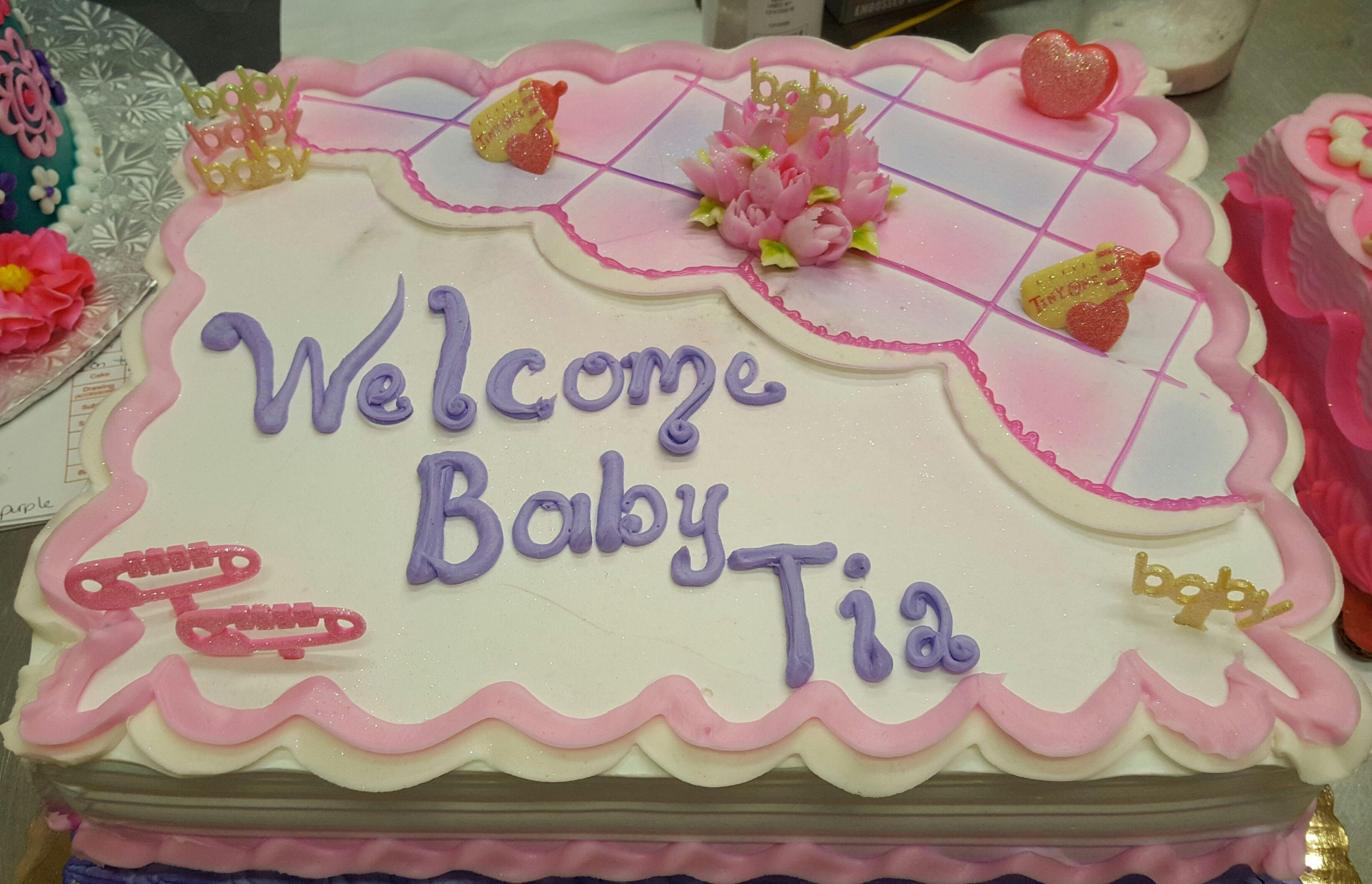 Calumet Bakery Simple Baby Shower Cake for Girl