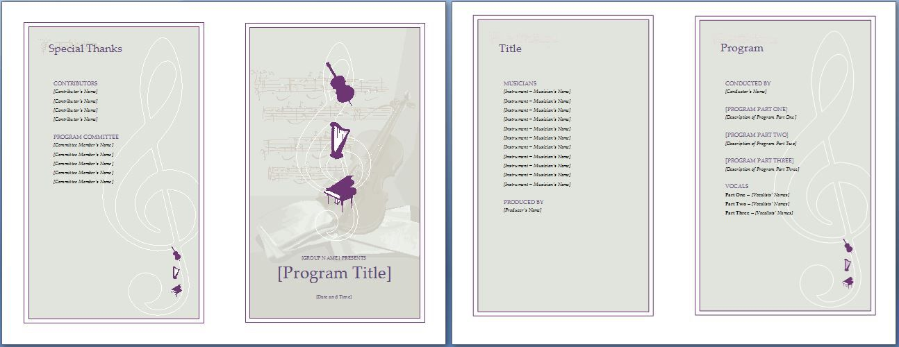 The music event program invitation will make your planning easy - holiday templates for word
