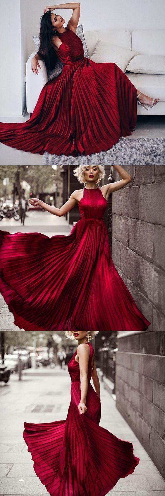 Gorgeous dark red long aline prom dress evening dress latest in