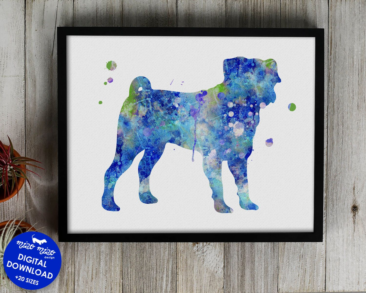 Pug Print Watercolor Art Printable Dog Poster Dog Painting Dog