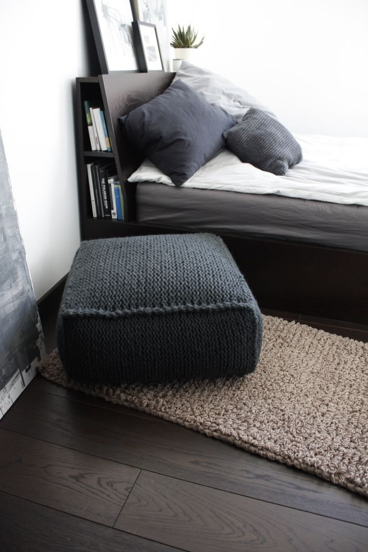 MADE TO ORDER wool footstool knit pouf square knitted