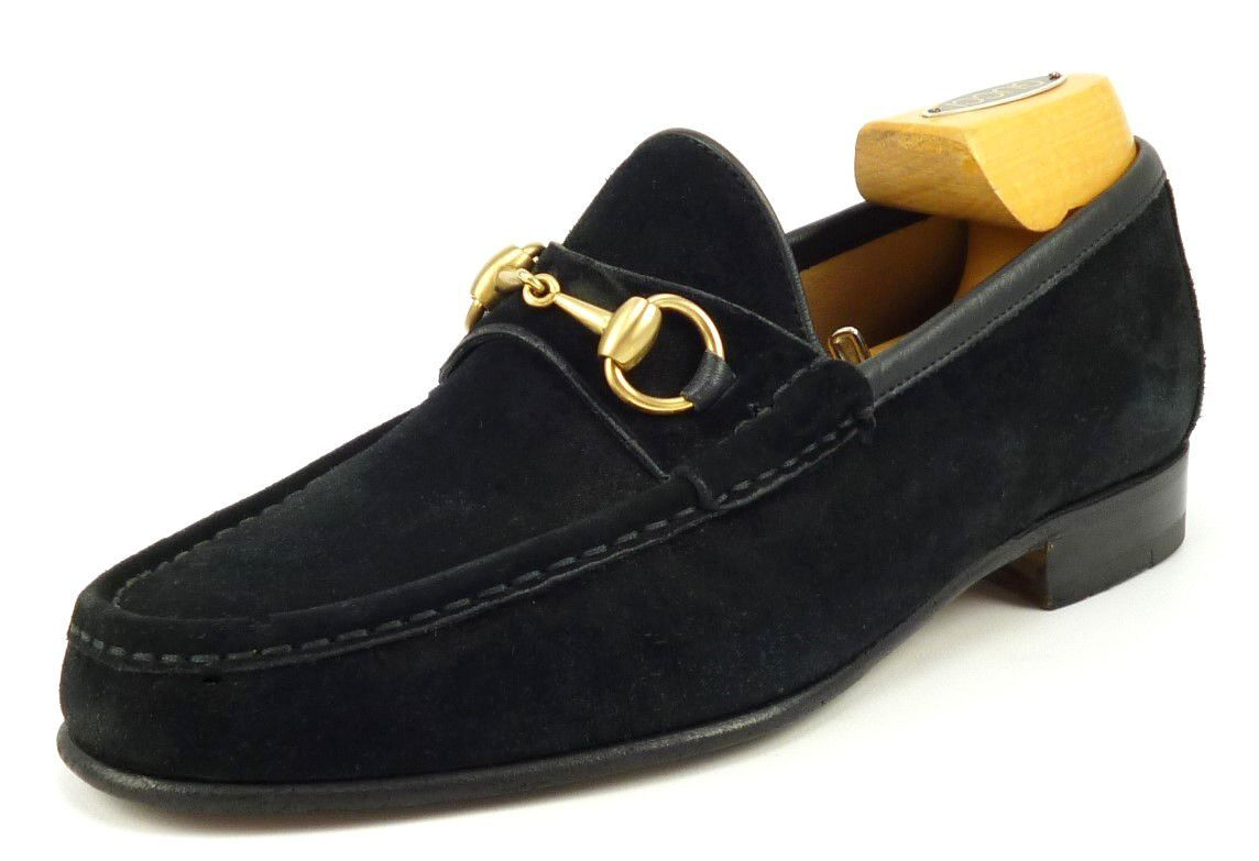 82d09cf5747bb9 Gucci Mens Shoes Size 7 Suede Horsebit Loafers 1100009 Black ...