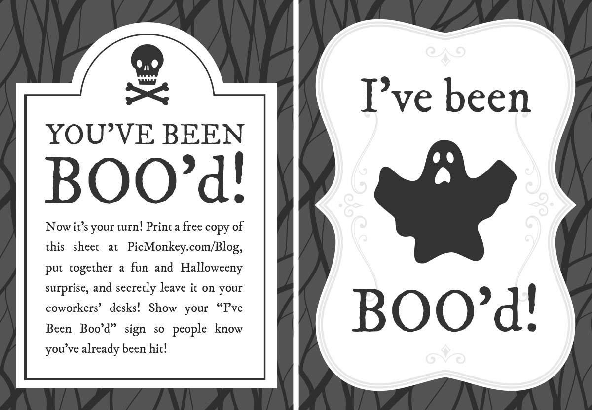 You Ve Been Booed Printables Picmonkey Blog Halloween Printables Boo Halloween Sign You Ve Been Booed Halloween Office