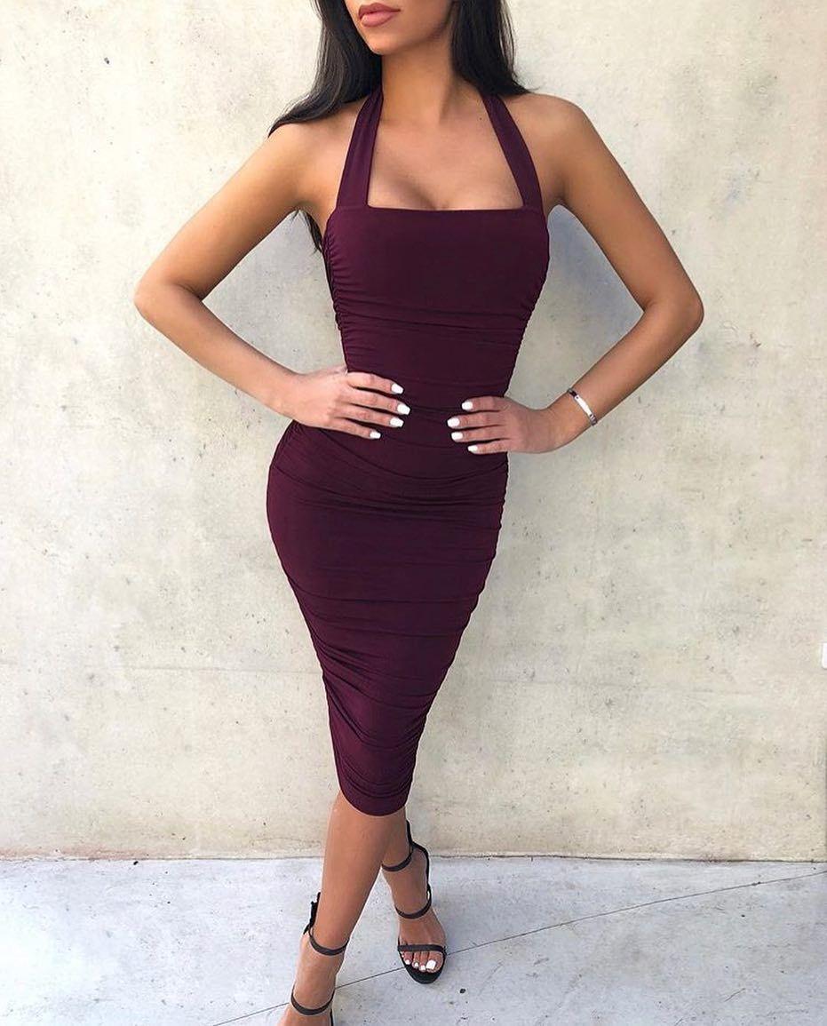 Nookie Jolie Halter Midi In Wine In Store Now Also Available In Blush New Halter Midi Dress Bodycon Dress Fashion [ 1155 x 931 Pixel ]