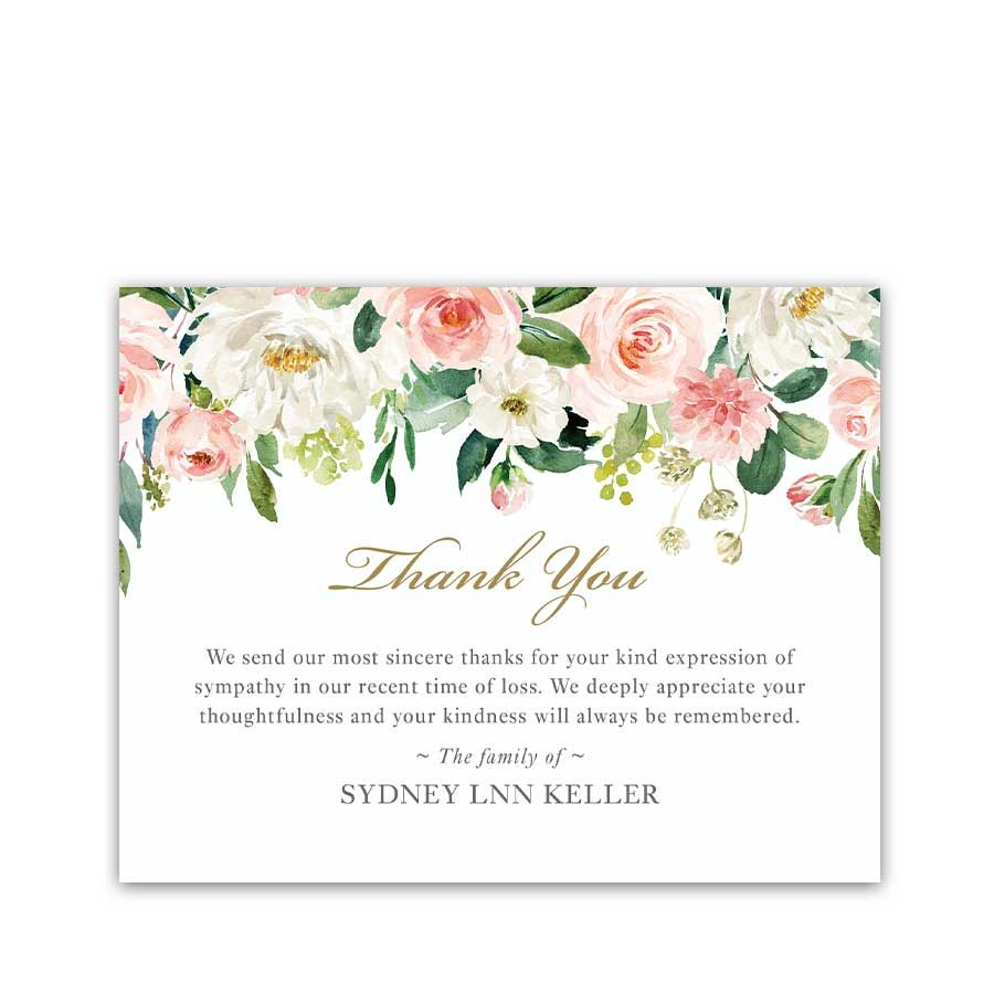 Thank You Cards For Funerals Funeral Thank You Cards Sympathy Thank You Cards Thank You Card Template