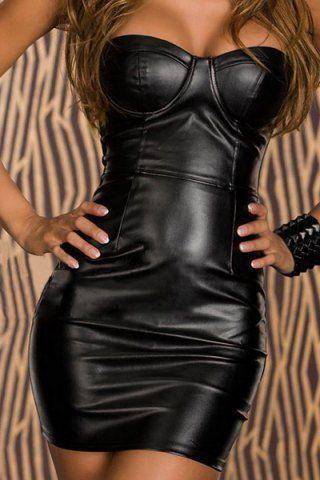 Vestido ajustado de empalme de cuero PU sin tirantes sexy para mujeres Vestidos de club RoseGa – Natalie Pflug – Ropa de mujer  – Moda