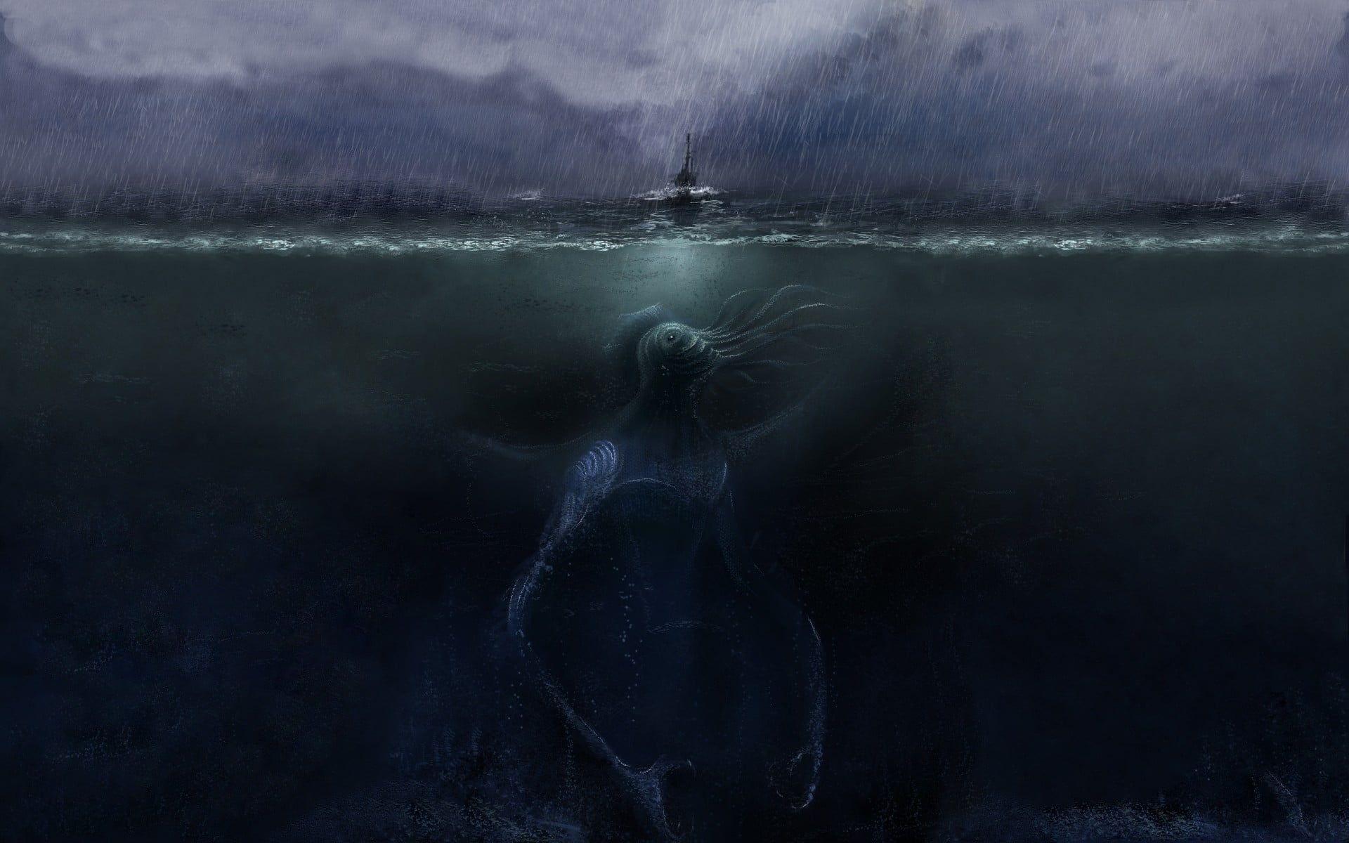 Sea Monster Wallpaper Fantasy Art Sea Sea Monsters Rain Storm Digital Art Split View Cthulhu Creature Un Underwater Painting Sea Monsters Storm Wallpaper