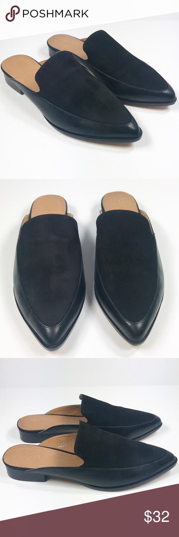 c738de006a1 Halogen Corbin Black Suede Leather Mules Size 7 Halogen Corbin Mule in Black  Leather Suede Women