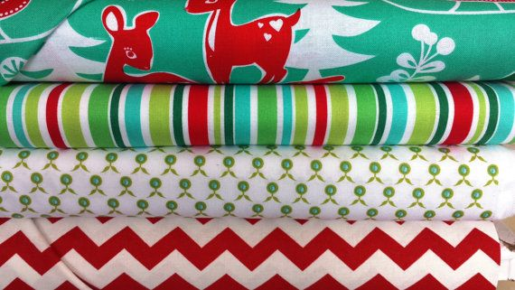 Michael Miller retro deer aqua Christmas fabric bundle