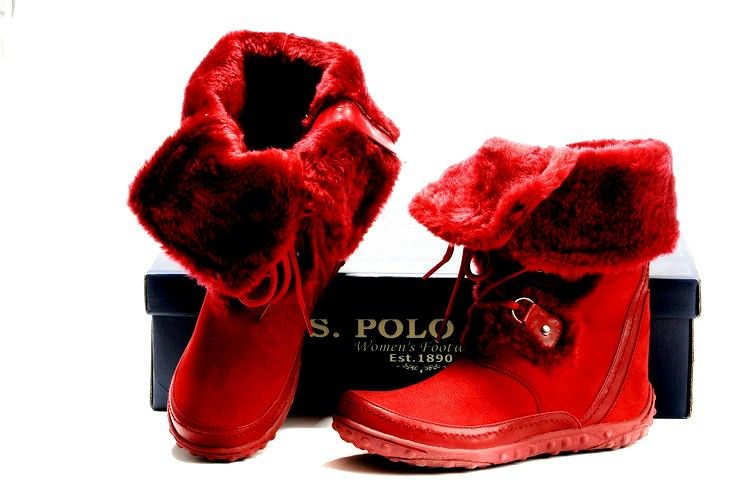 Red Polo Boots with fur [] Nice for