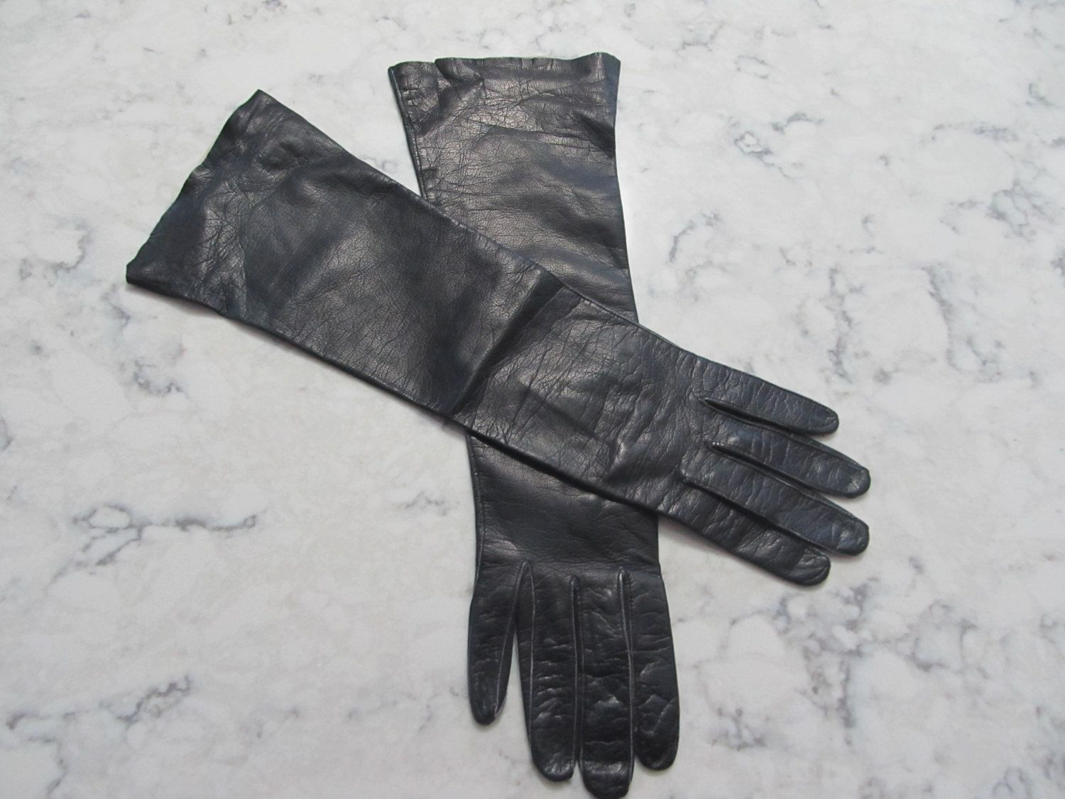 "VINTAGE 1950's Schuster Black Kid Leather 14"" Elbow Length Gloves--Unused?---Size 7--Auction #1163 by PrimaMona on Etsy"