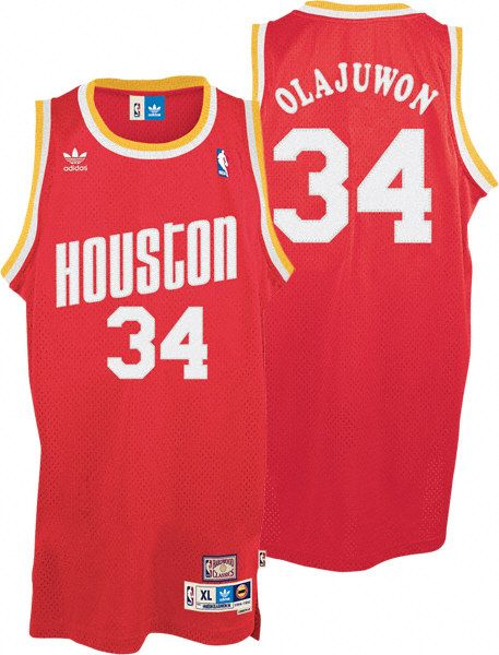 NBA Houston Rockets 34 Hakeem Olajuwon Throwback Soul Swingman Red ... c97d31ea5