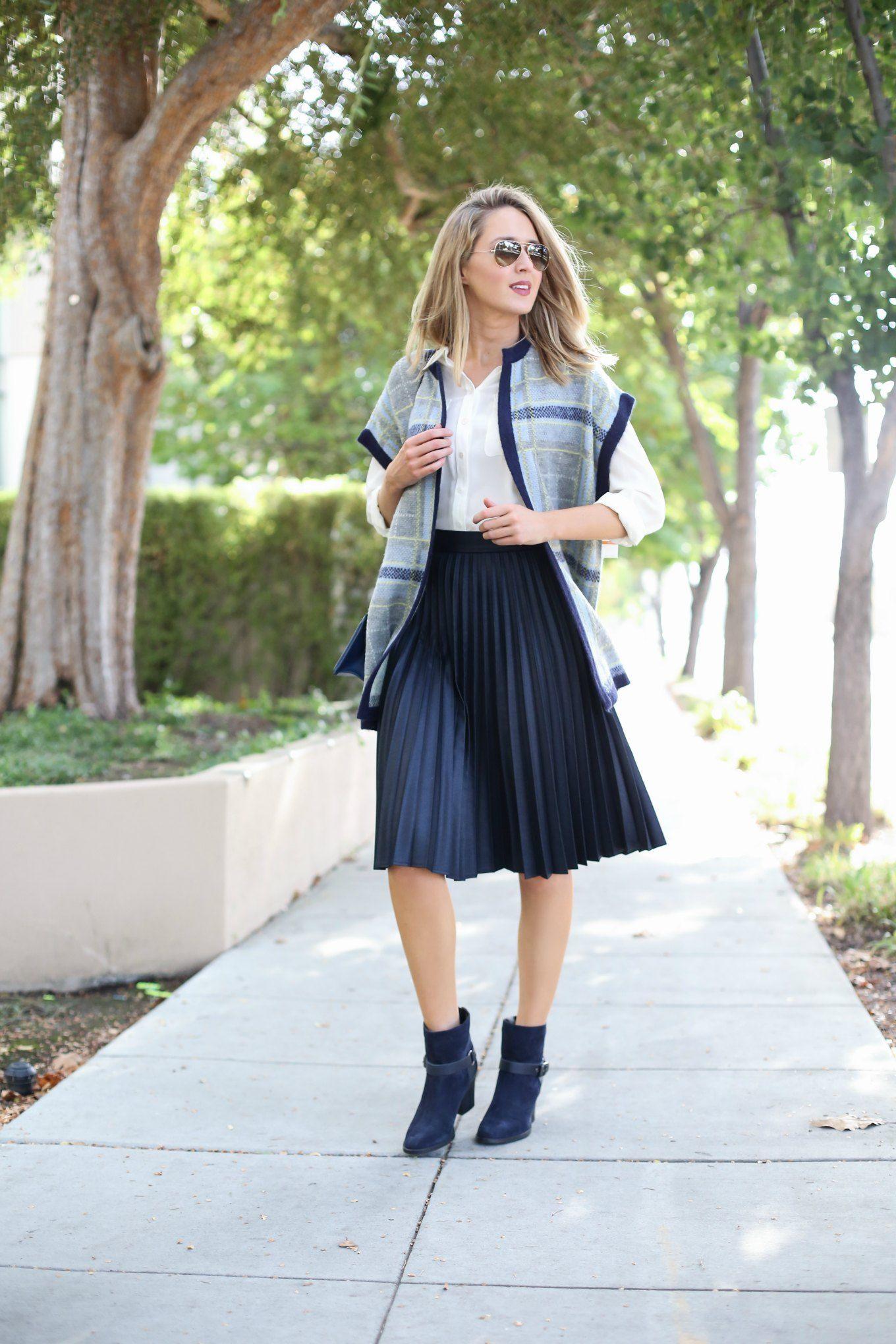 a aquatalia navy suede booties pleated midi skirt workwear