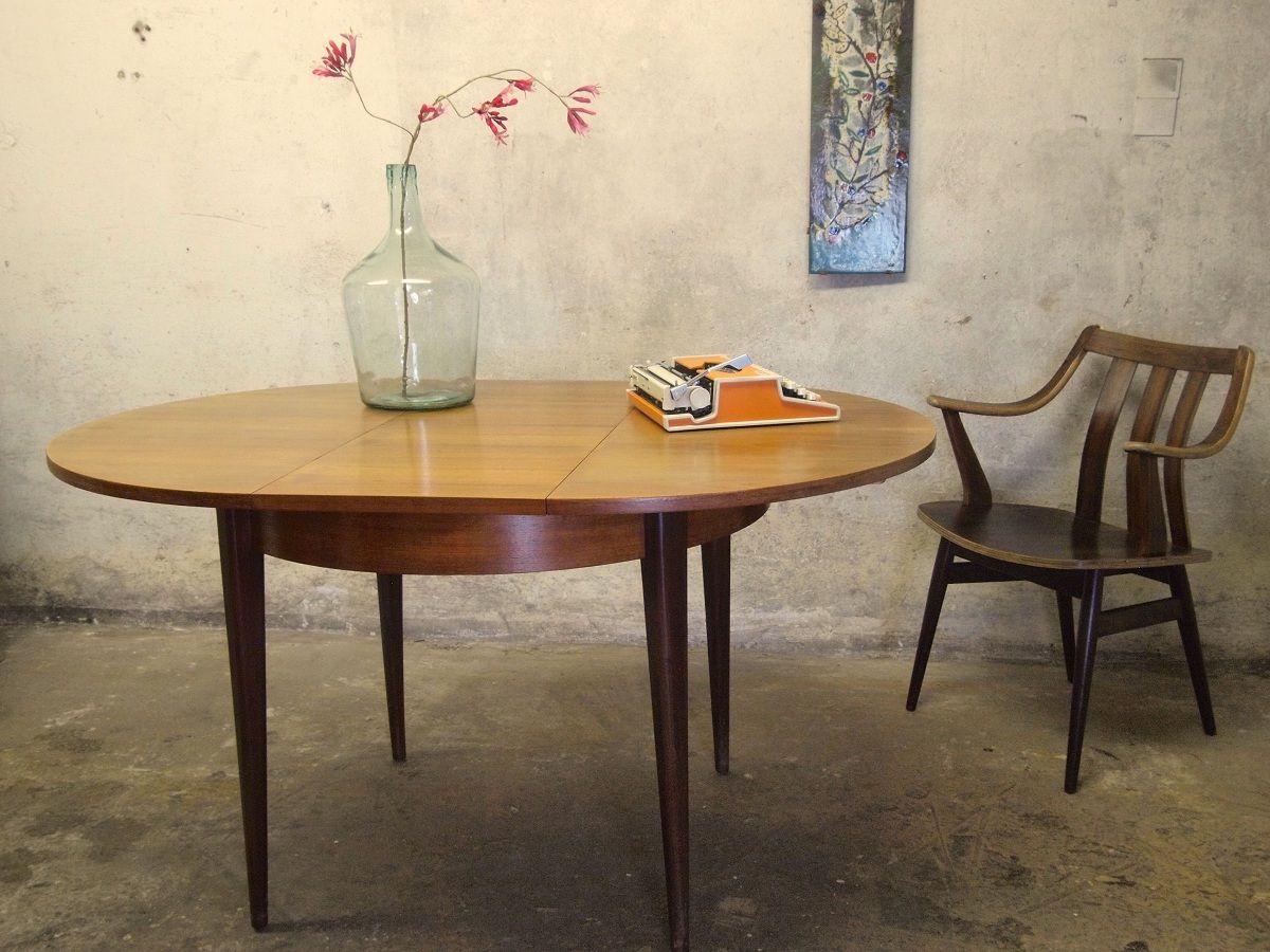 Uitklapbare ronde eettafel uit de jaren 39 50 39 60 van teak fineer idee n voor het huis - Houten lamp vloot huis van de wereld ...