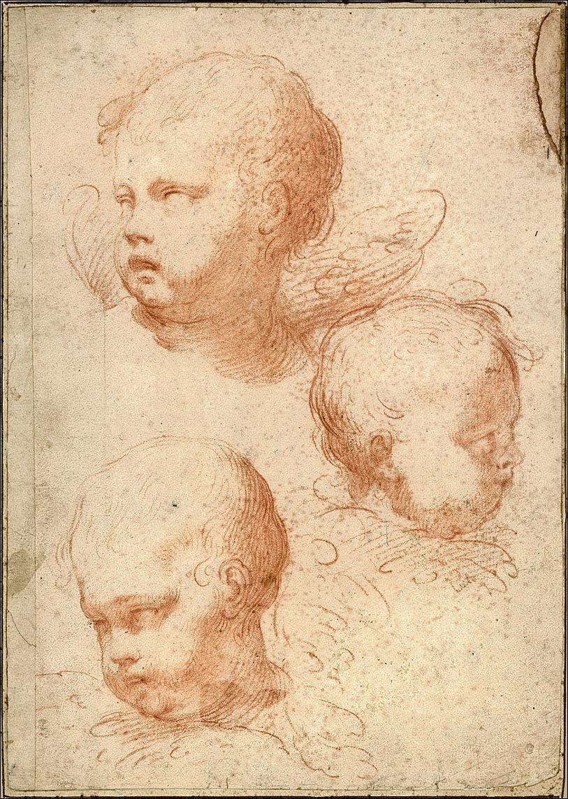 Circle of François Du Quesnoy (1597-1643), Three Head Studies for Seraphim, red chalk, 283 x 200mm