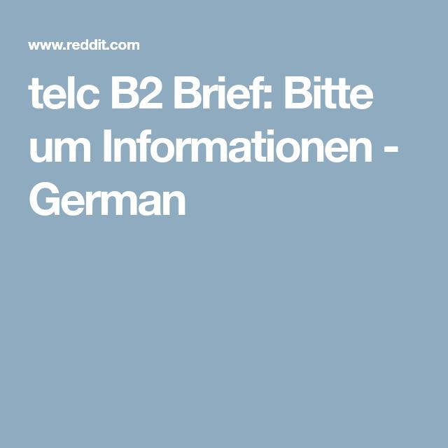 Telc B2 Brief Bitte Um Informationen German Bitte