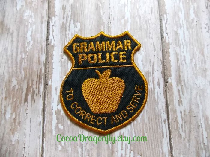 Grammar Police Patch Applique Black And Gold Embroidered Etsy Embroidered Patches Backpack Patches Police Patches