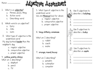 Second grade adjective assessment and fun adjective ...