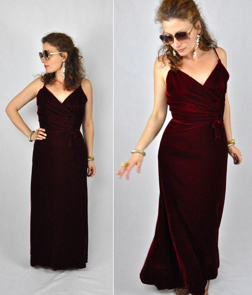 Vintage red velvet s dress wiggle maxi dress spaghetti straps