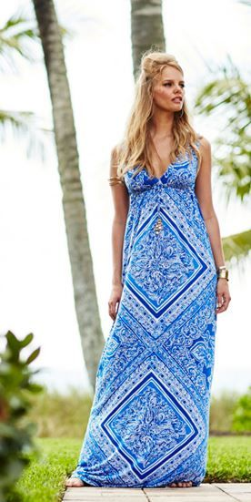 6b0c2fd5d579e6 The Lilly Pulitzer Miraflora Maxi Dress has an empire waistline AND a  spaghetti tie in the front with gypsy coin charms.