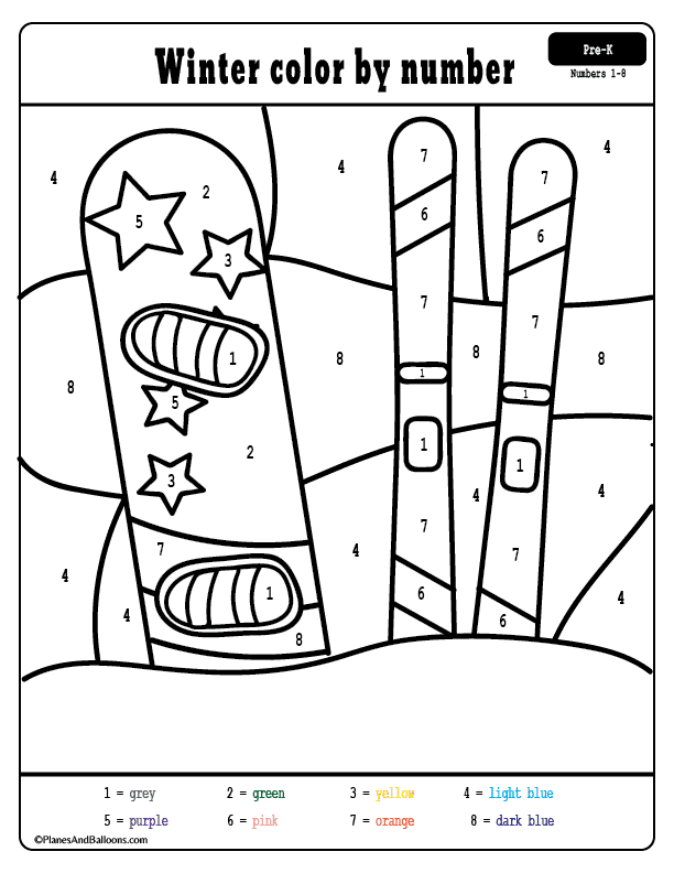 Free Winter Preschool Printables Winter Color By Numbers Worksheets Fun Winter Coloring Pages Wit Winter Preschool Printables Color By Numbers Winter Colors