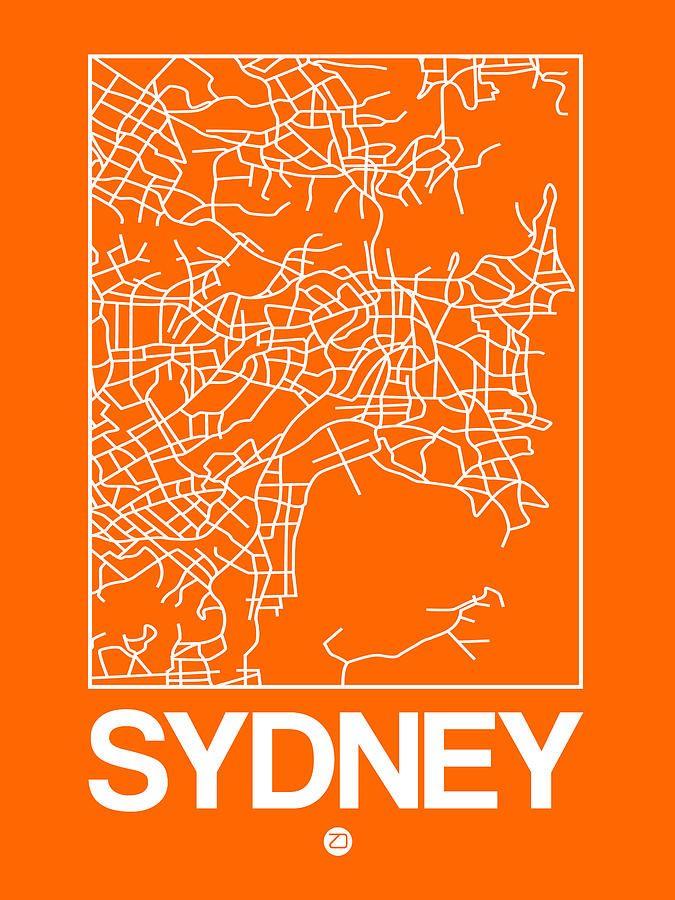 Digital Art - Orange Map Of Sydney by Naxart Studio #affiliate , #AFFILIATE, #SPONSORED, #Orange, #Map, #Studio, #Art