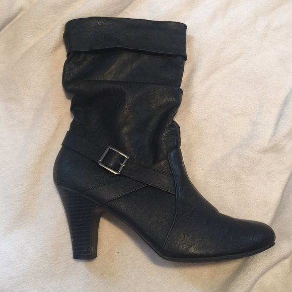 Woman's heeled boots These boots come about mid calf. They are gently worn as they were 2 sizes to big. (Wore big socks) have a ton of life in them! Perfect for this season! Faded Glory Shoes Heeled Boots