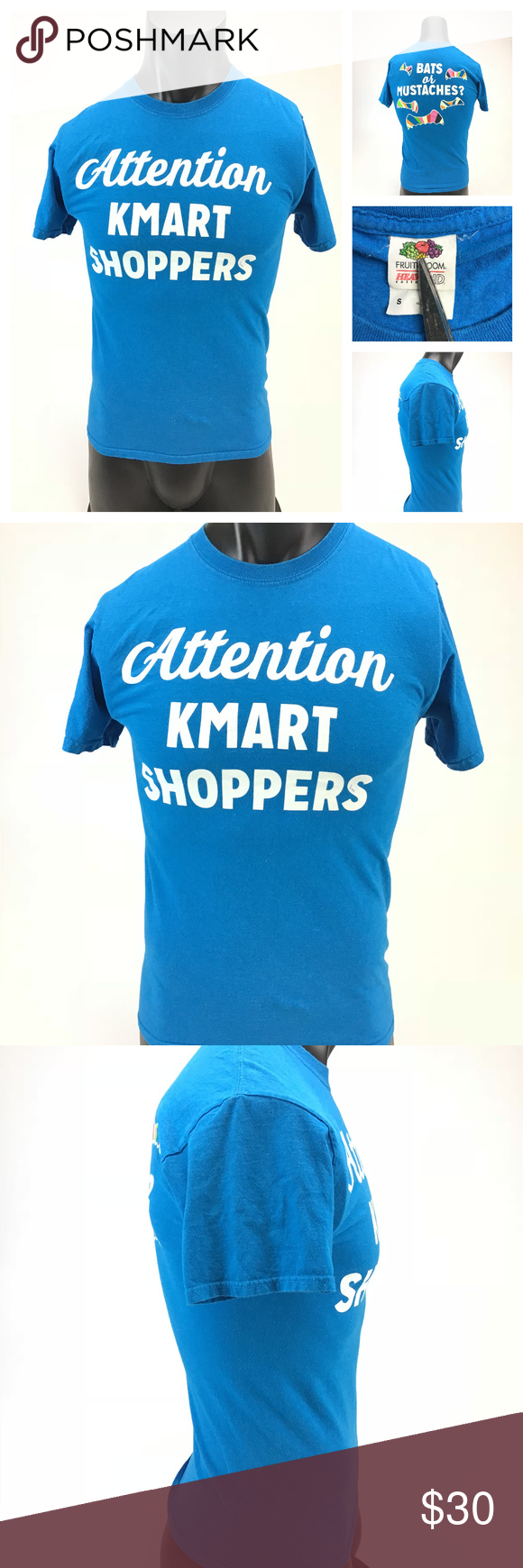 dda407205 Vtg Attention Kmart Shoppers T shirt mens small Description: Vintage  Attention Kmart shoppers, Bats or Mustaches? graphic Tshirt Brand: Fruit of  the Loom ...