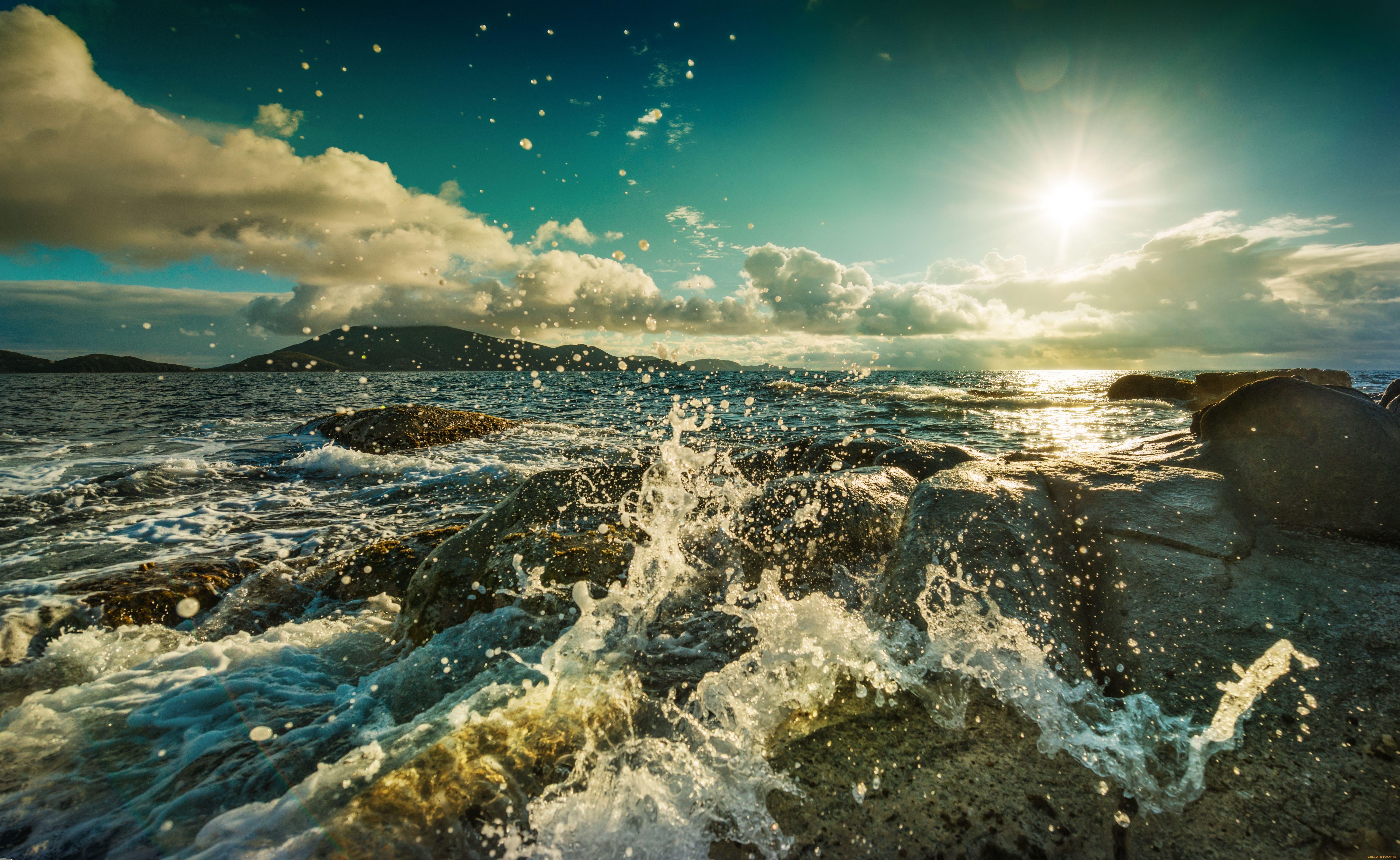 Ocean Waves Sun Rocks Waterdrops Seascapes Water Drops Nature Skies Coastlines Clouds Shorelines Cloud Landscape Earth Nature Nature Hd Wallpaper