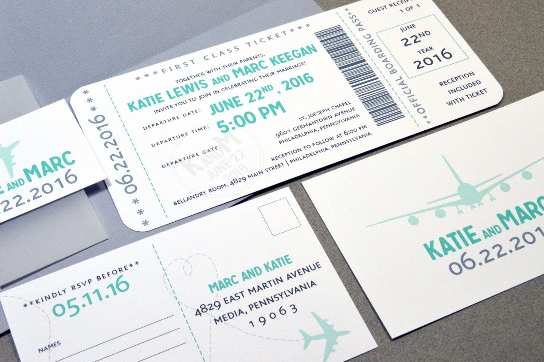 Boarding Pass Wedding Invitations Plane Ticket Invite Set Aqua and ...